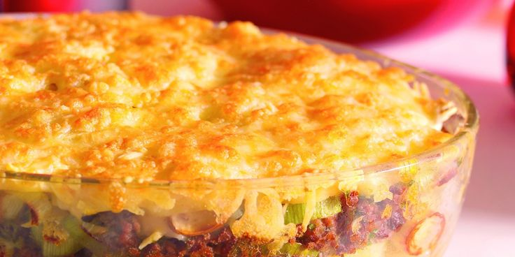 Boodschappen - Ovenschotel met gehakt, prei en aardappel