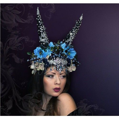 Blueberry Fantasy Headpiece #accessories #fashion #headpiece #fascinator #blue #headdress #hairstyle #wedding #bridal #crystals #glamour #chic #millinery #romantic #fantasy #shop #blueberry #flowers #swarovski #weddingheadpiece #collection #fairy #weddings #look