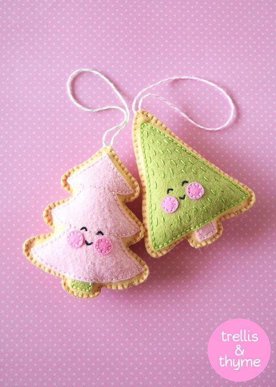PDF Pattern - Merry Little Trees Sewing Pattern, Christmas Ornament Pattern, Holidays, Kawaii Felt Pattern, Softie Pattern