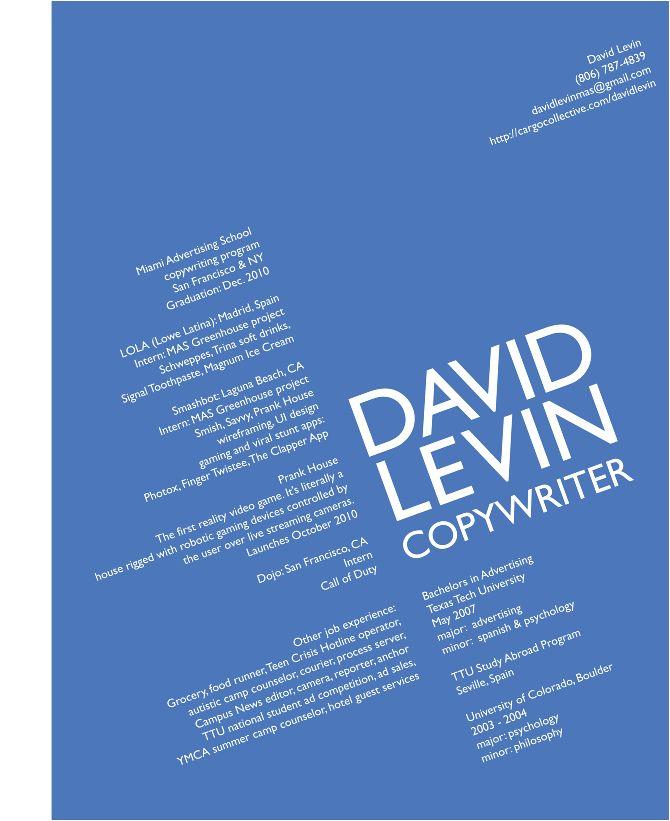 copy writer resumes