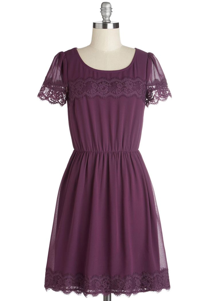One of a Kindhearted Dress - Purple, Solid, Lace, Casual, A-line, Short Sleeves, Woven, Mid-length, Party