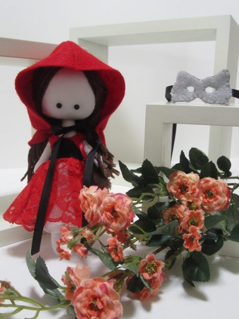 Red Riding Hood, poupée de chiffon petit chaperon rouge, masque de loup, Wolfe mask