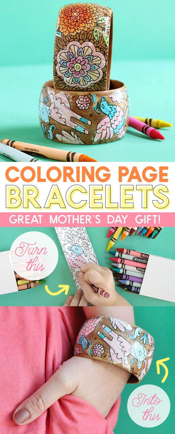 make coloring page bracelets - cute way to turn kid's coloring pages into jewelry - fun mother's day gift idea
