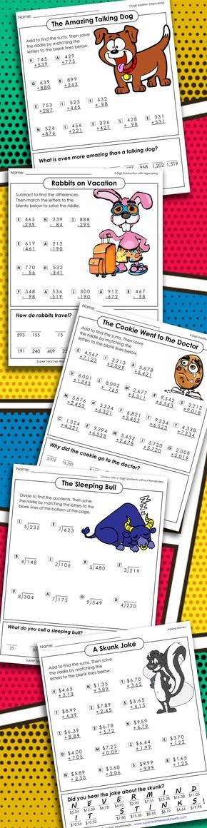 Your students can practice basic #math skills with our series of clever math riddles! These puzzles include a variety of math topics, such as addition, subtraction, multiplication, division, rounding, decimals, place value, and integers. Students solve each math problem and fill in a missing letter of the riddle until the whole answer is revealed! Check out our entire collection of #mathriddles from #superteacherworksheets today!