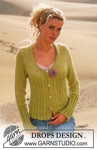 88-4 Cardigan in Alpaca and Glitter by DROPS design - free