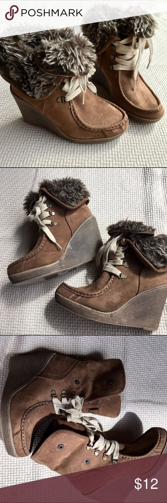 Fur lace-up wedge boogie Fabulous winter wedge lace-up boots with faux fur lining of shaft. Worn a handful of times and have minor wear, as pictured. Fits true to size. Mossimo Supply Co Shoes Lace Up Boots