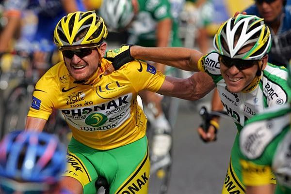 Floyd Landis (born October 14, 1975) is an American former professional road racing cyclist. Landis at first appeared to be the winner of the 2006 Tour de France, and the third non-European winner in the event's history, before testing positive for performance-enhancing drugs.