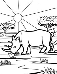 #planse de colorat #activitaticopii #rinocer Coloreaza Animale salbatice Rinocer