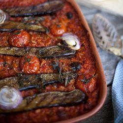 Spicy Grilled Eggplant Risoni Bake {vegan}
