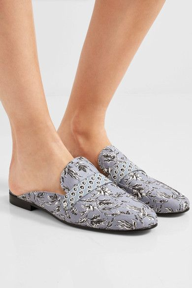 Sam Edelman - Perri Printed Leather-trimmed Canvas Slippers - Light blue - US
