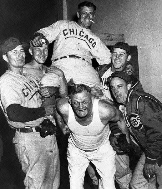 Cubs celebrating winning the NL pennant for 1945