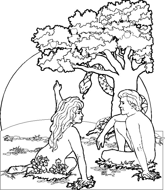 adam and eve tempted by satan serpent bible coloring page - Adam Eve Bible Coloring Pages