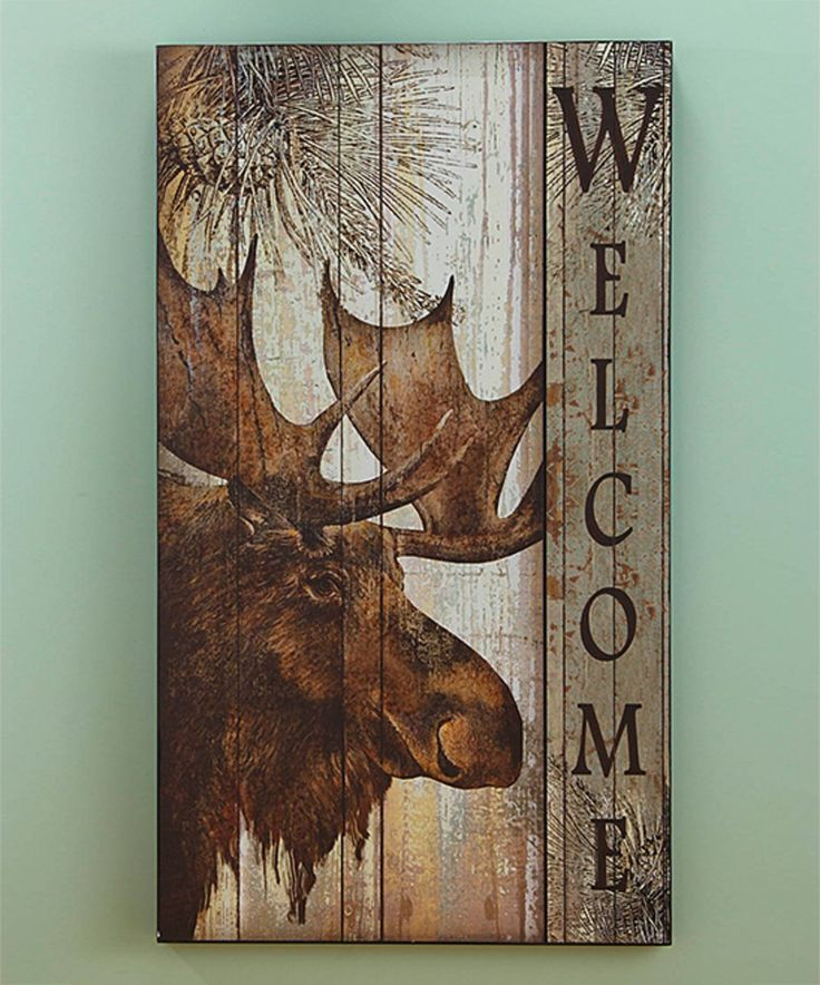 Rustic Pine Toung And Groove Interior Design: Take A Look At This Moose 'Welcome' Sign Today!