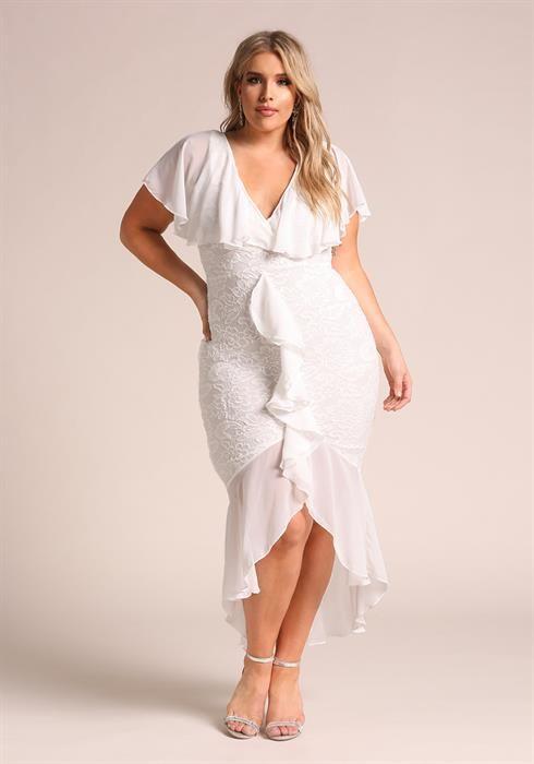 Plus Size Chiffon Lace Waterfall Ruffle Midi Dress