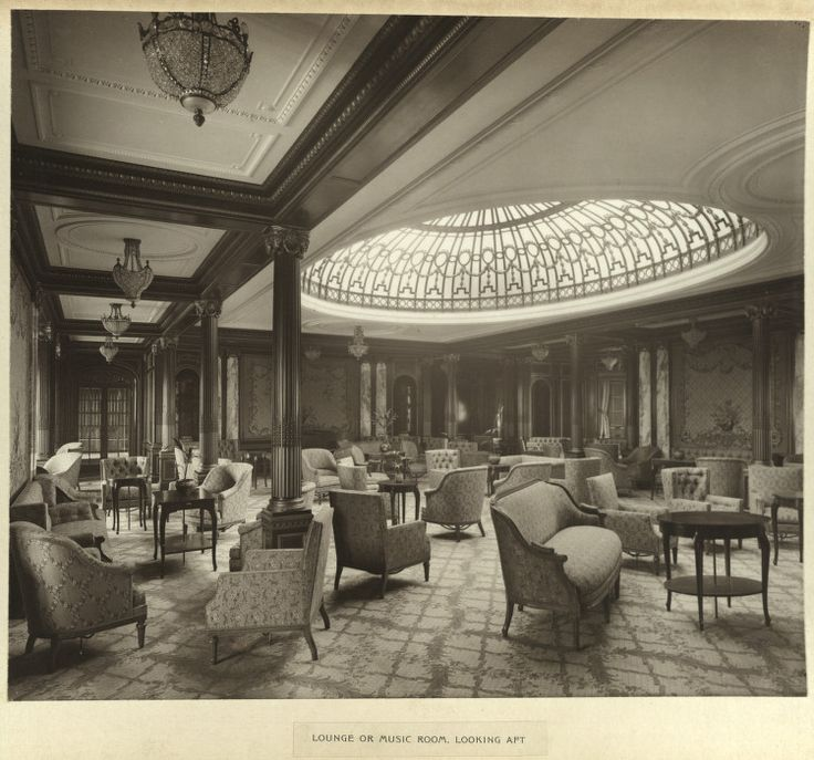 RMS Mauretania ( слева ) и RMS Lusitania ( справа ) , принадлежавшие Cunard Line , в Ливерпуле. Год не установлен. Про судьбу этих красавцев рассказывать не буду. А вот внутренние…