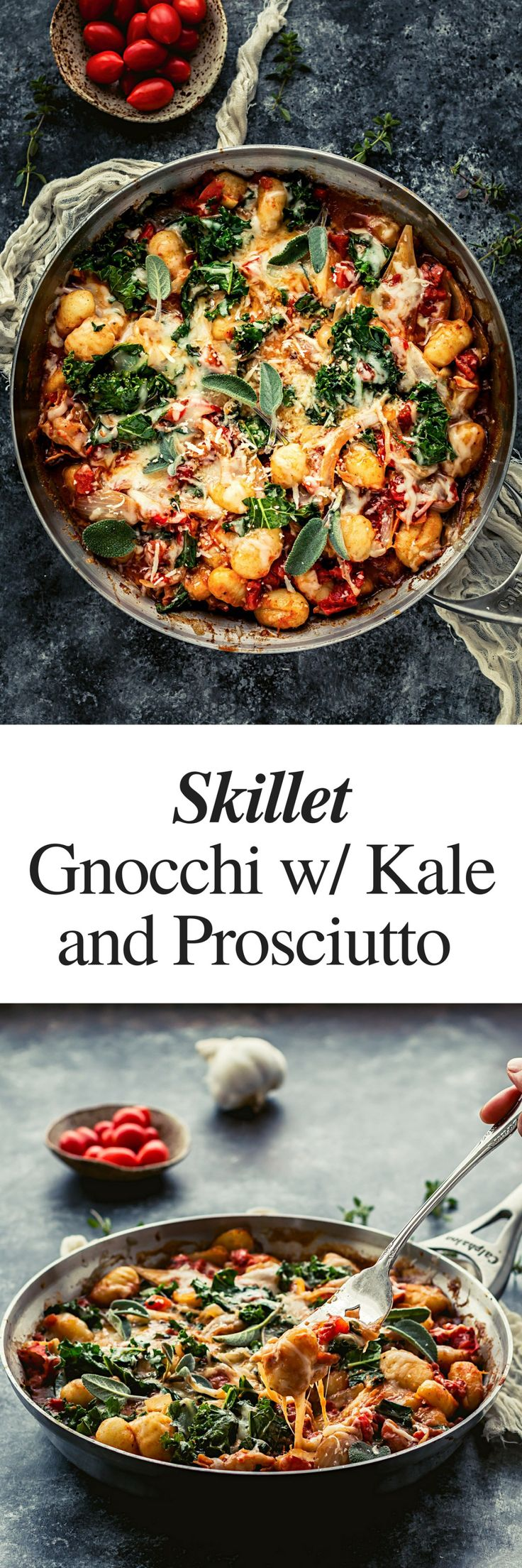 skillet potato gnocchi recipe with prosciutto and kale