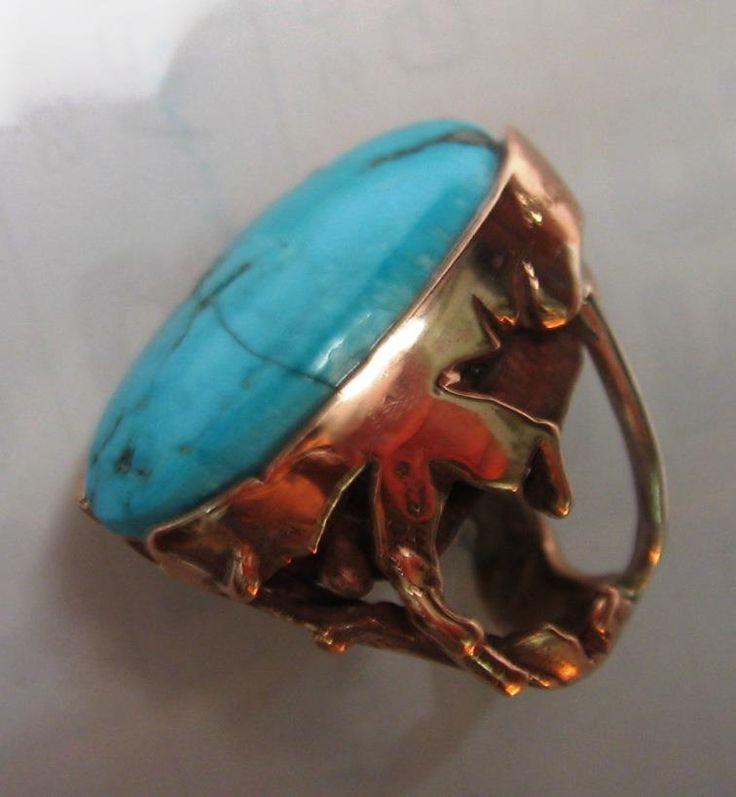 Anello in bronzo e argento con un turchese naturale incastonato- Collezione privata-
