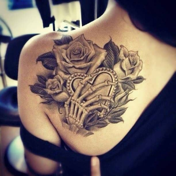 Shoulder Blade Tattoo Rose Bone Hand  - http://tattootodesign.com/shoulder-blade-tattoo-rose-bone-hand/  |  #Tattoo, #Tattooed, #Tattoos
