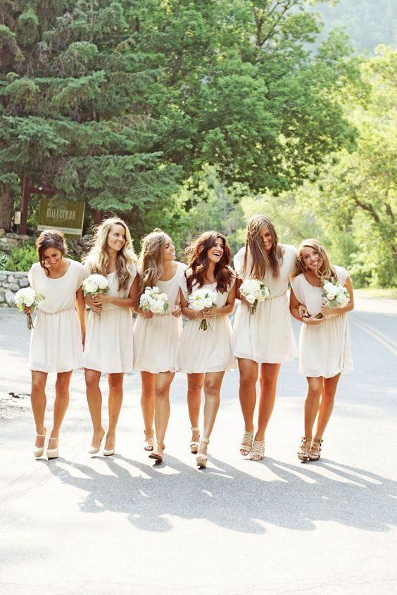 white bridesmaid dress,short bridesmaid dress,Cheap bridesmaid dress,chiffon bridesmaid dress,BD1377