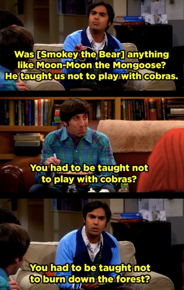 "When Howard and Raj didn't hold back about each other's respective countries. | 21 Moments ""The Big Bang Theory"" Had Absolutely No Chill"