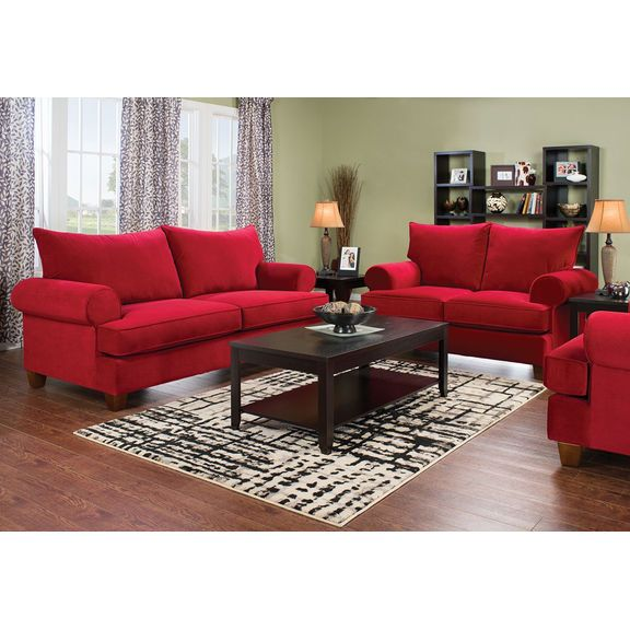 Paige Microsuede Full-Size Sofa Bed - Red   The Brick