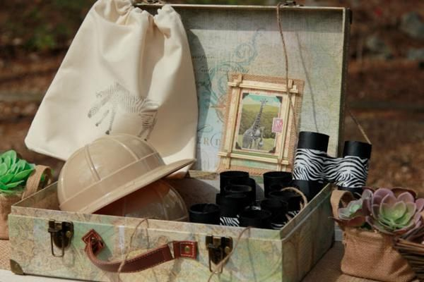 Kits de chapéus e binóculos para convidados festa do safari rústica