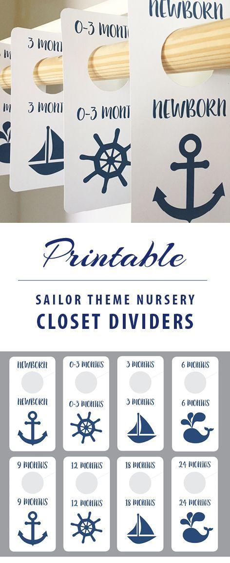 Sailor Theme Nursery - Printable Closet Dividers for Nursery - Baby Shower GIft