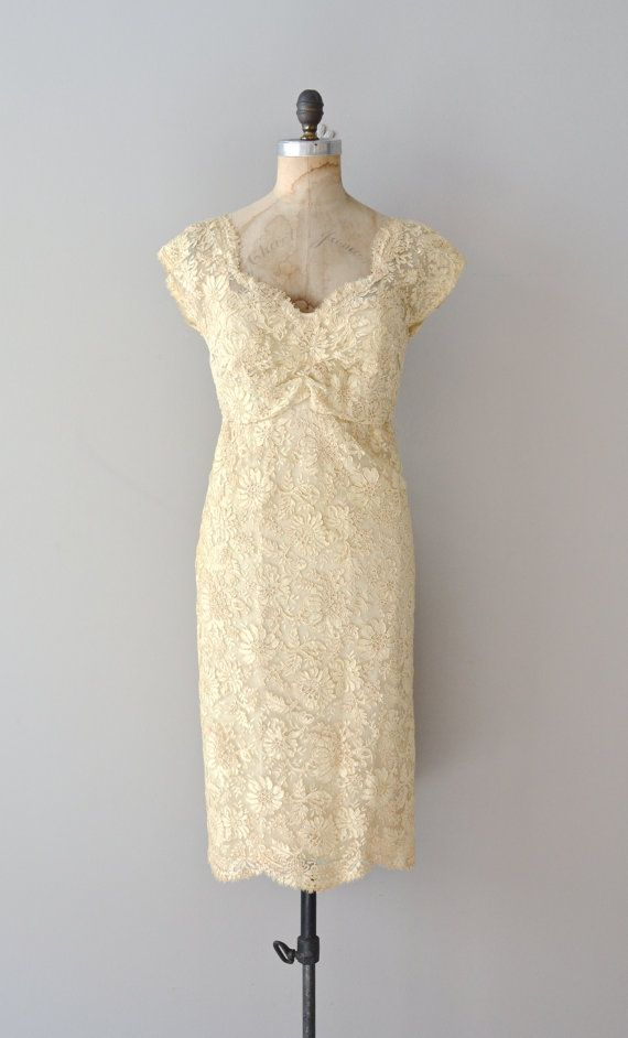 cream lace 50s dress