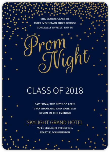 golden confetti stars prom invitation prom 2018 a night in the