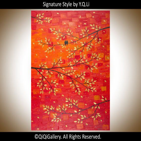 """***TITLE: """"Sunset Love""""  ***SIZE: 24"""" x 36"""" x 0.8"""" ***THEME: Love Birds on tree branches ***MEDIUM: Professional grade acrylics or oils on stretched"""