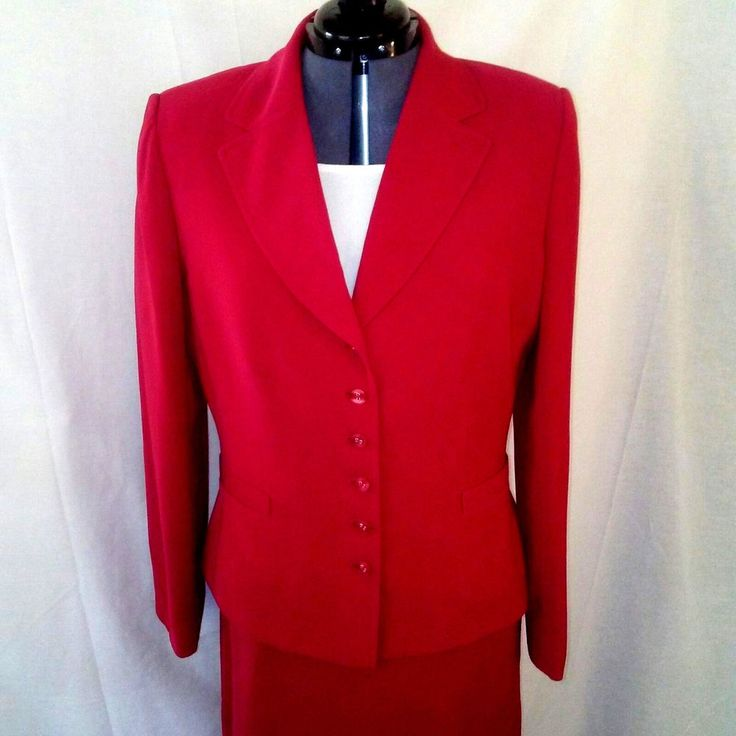 Tahari Arthur Levine Christmas Red Suit Blazer Skirt 2 pc Lined Women's Size 12 #Tahari #Blazer