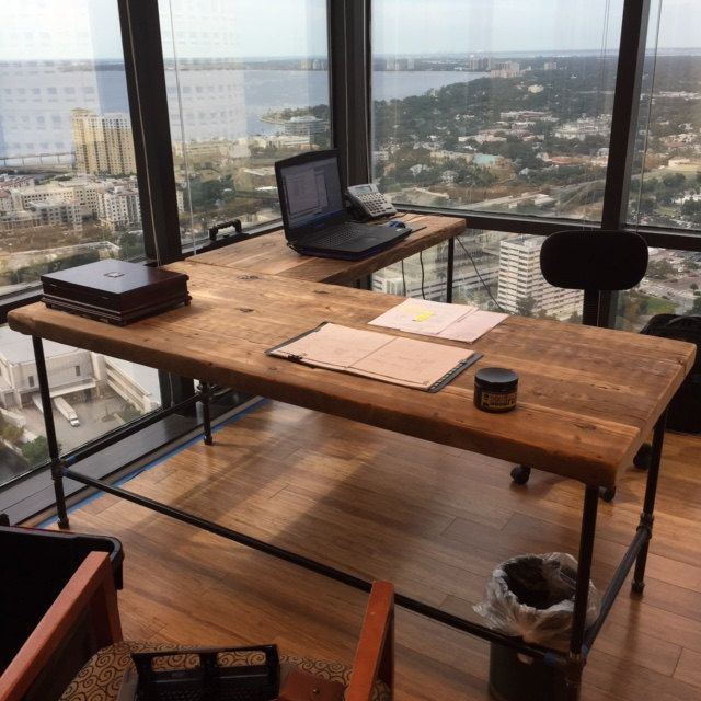 Urban Wood L Shape desk crafted of reclaimed wood with pipe legs or square steel legs