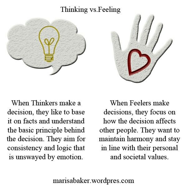 Thinking vs feeling types #MBTI Considering I'm an INFJ, I use both thinking and feeling often. (But feeling over thinking, of course)