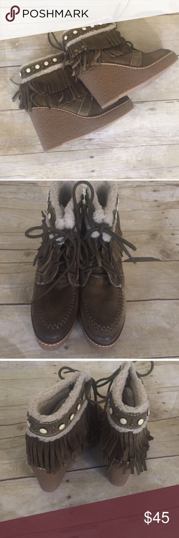 🎉HP🎉Sam Edelman fringe ankle boots NWT size 5 Sam Edelman fringe ankle boots size 5 NWT in Olive.  4 inches high. 4.5 shaft. Approx measurements Sam Edelman Shoes Ankle Boots & Booties