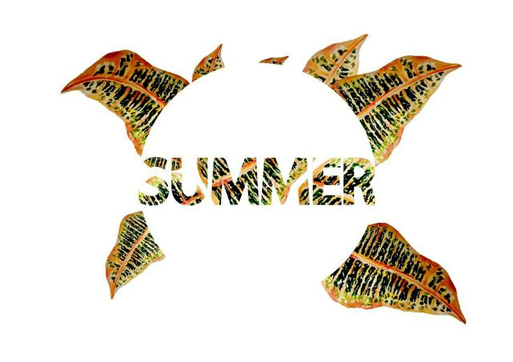 Poster about summer by watercolor  Forest, green, water,