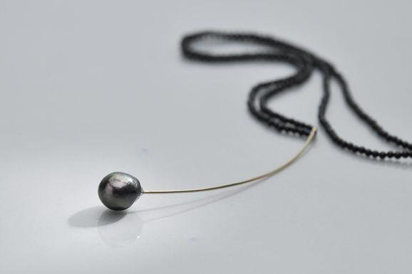 """Necklace 1"", gold, Tahiti pearl"
