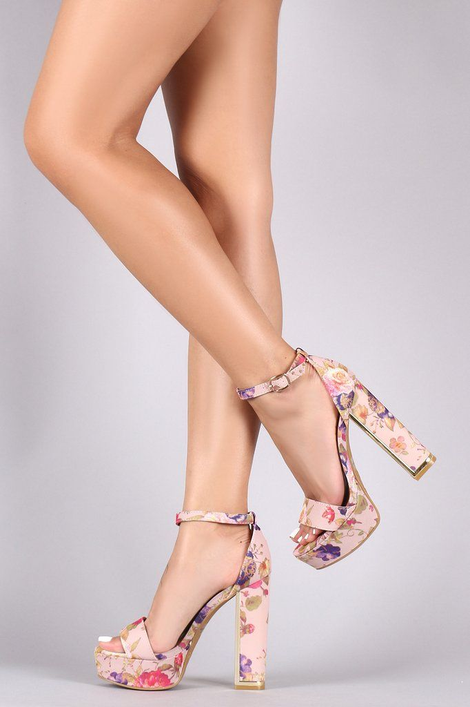 595b990e989 Floral Ankle Strap Platform Chunky Open Toe Heels
