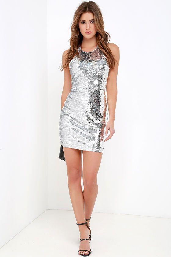 Sequins Silver Sequin Dress at Lulus.com | Pinterest: @ElektraSaucedo