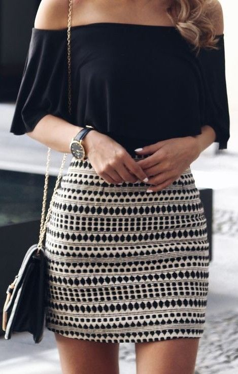 Pinterest: @eighthhorcruxx. Black over the shoulder top and patterned black and white skirt.