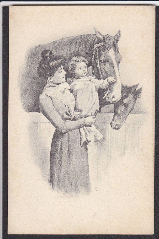 Horse-Pony-Mother-Child-Antique Postcard