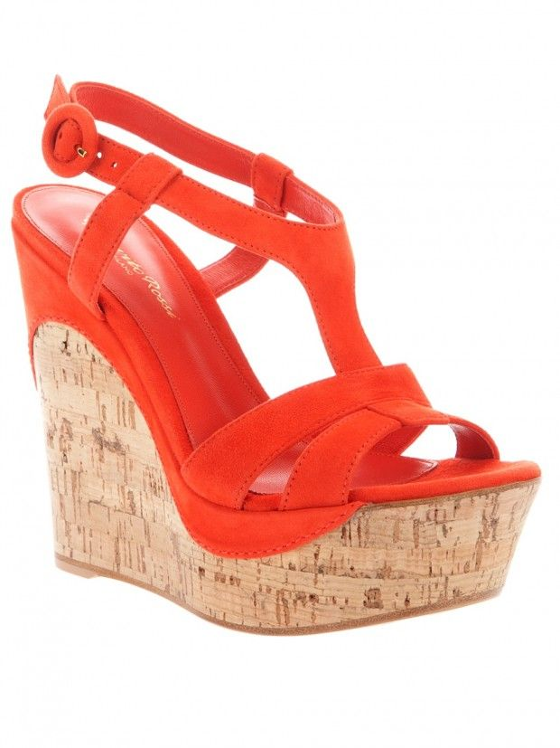52dc7b3efbc Amazing Wedge Sandals for This Summer. In Tangerine - Orange with cork  look.