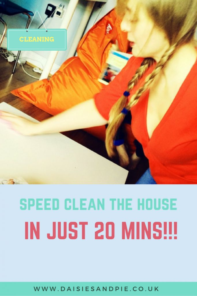 How to speed clean the house in just 20 minutes, this is a brilliant home cleaning routine for when you've got unexpected guests coming and need stuff neat, clean and fast! Pop over to Daisies & Pie now and find out how to get it all done in just 20 minutes!
