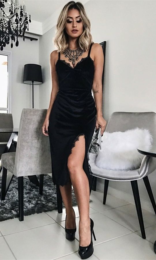4f390373 Sheath Spaghetti Straps Black Velvet Prom Dress with Lace ...