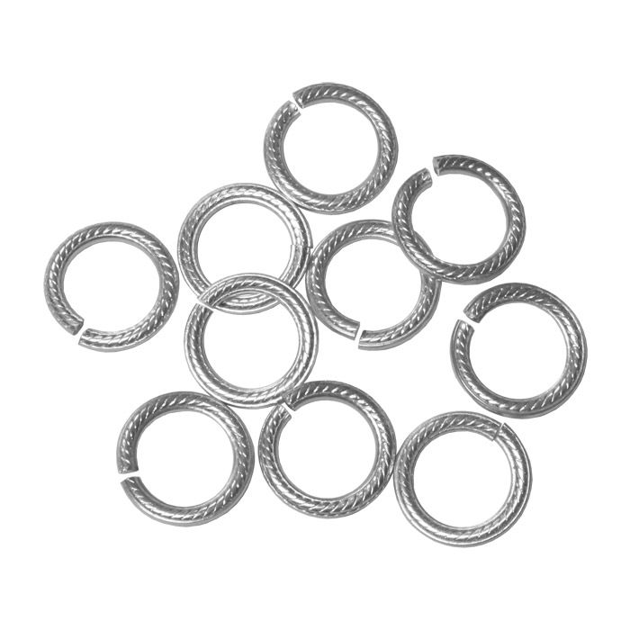 Bright Silver 3/8 Inch 13 GA Rope Pattern Anodized Aluminum Open Jump Rings