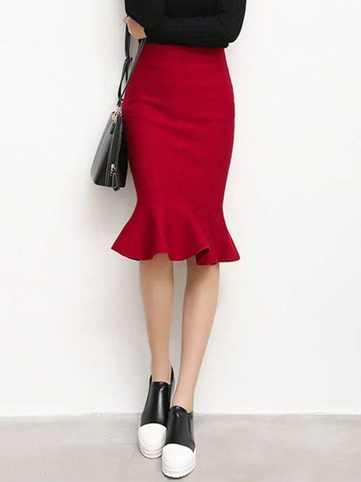Wine Red High Waist Trumpet Hem Midi Skirt | abaday