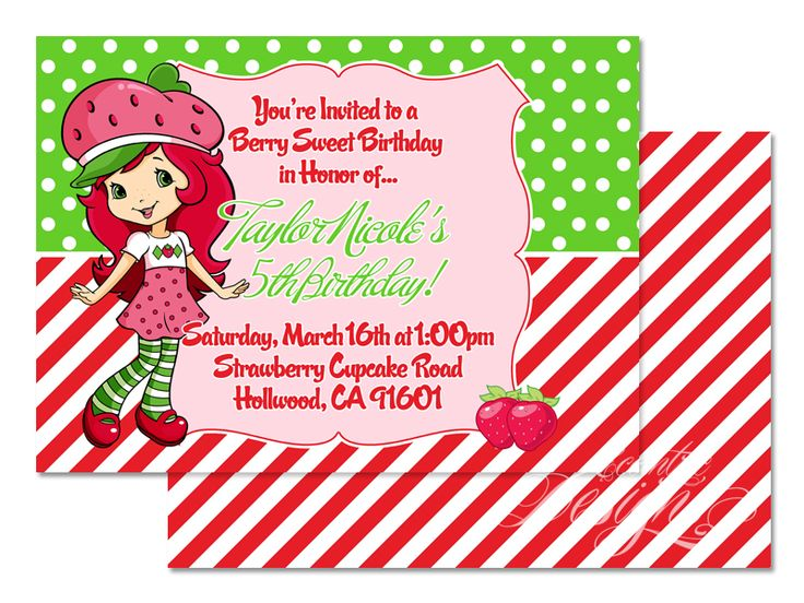123 best children birthday party invitation designs images on strawberry shortcake digital birthday party invitation child party ideas children party themes stopboris Images