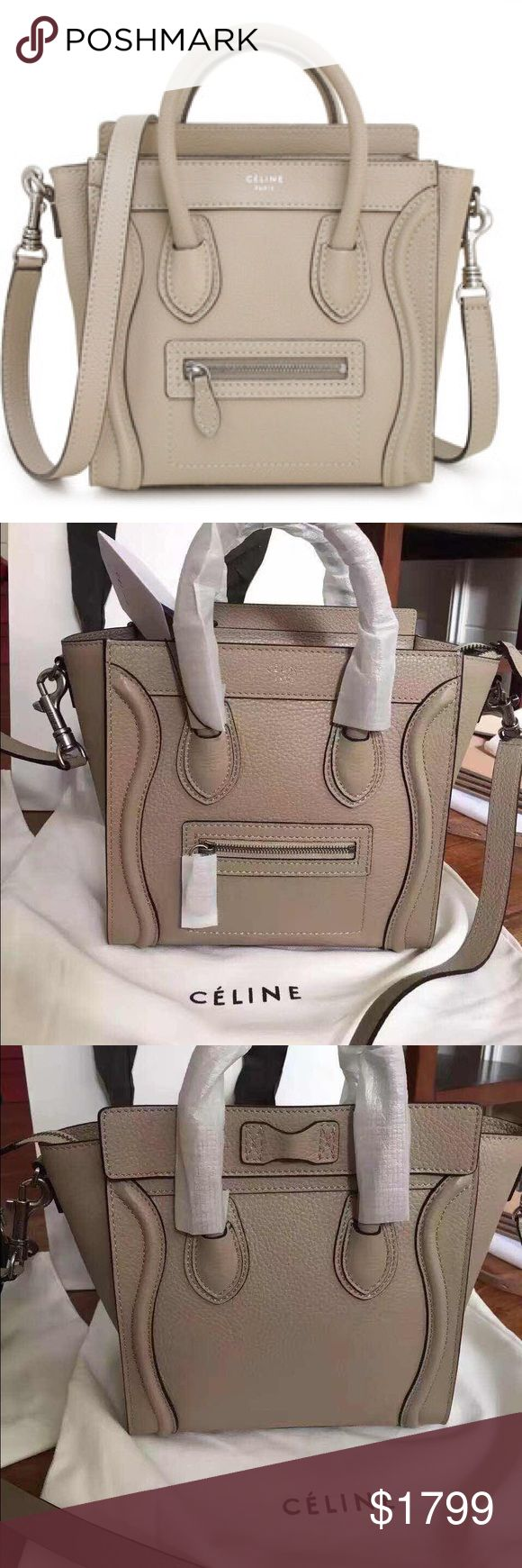 Authentic new Celine nano in taupe beige Authentic new Celine taupe beige nano bag -purchased in Celine boutique / this was gifted item and haven't used it at all it is made of drummed Celine leather inside is suede made in Italy and I am selling this because I have similar color in nano bag / comes with carebooklet Celine Bags Mini Bags