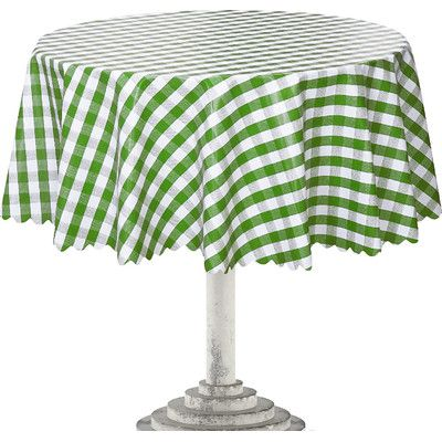 Ottomanson Essential Checkered Design Indoor/Outdoor Tablecloth Color: Green