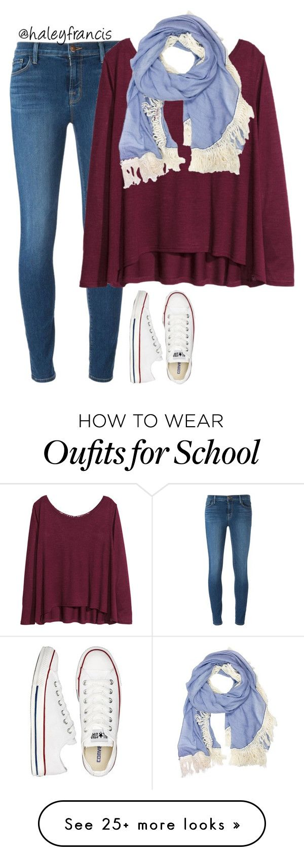 """No school today!!"" by haleyfrancis on Polyvore featuring J Brand, H&M, Converse, women's clothing, women, female, woman, misses and juniors"