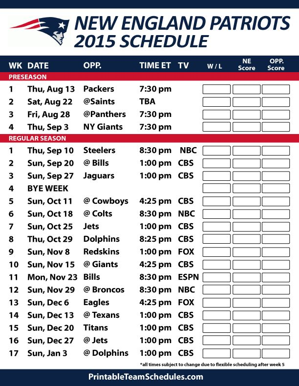 New England Patriots 2015 Schedule. Printable version here: http://printableteamschedules.com/NFL/newenglandpatriotsschedule.php